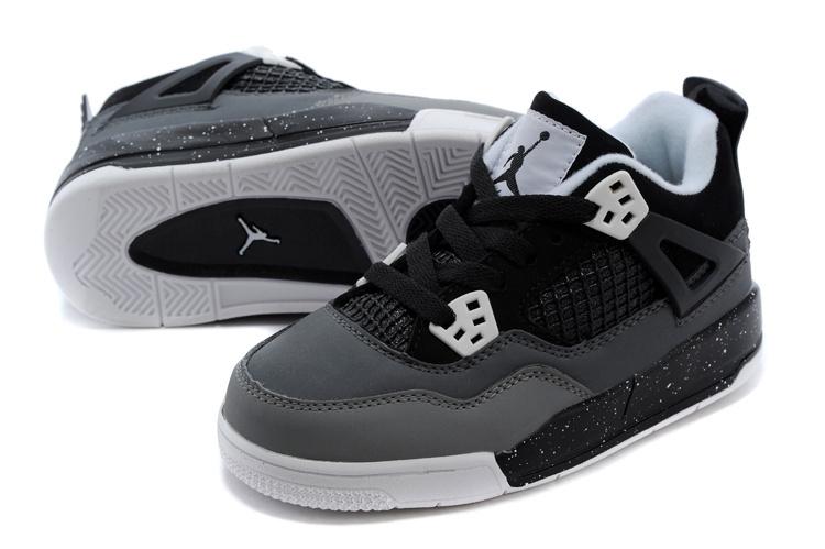 22f97ee8cdc622 2014 Kids Air Jordan 4 Retro Black Grey White Shoes