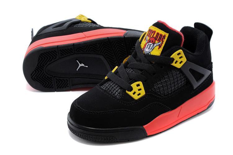 low priced 6f010 e73e5 2014 Kids Air Jordan 4 Retro Black Red Yellow Shoes