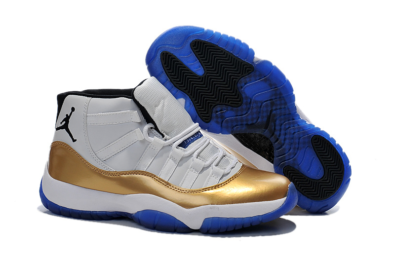 2014 White Gold Blue Air Jordan 11 Retro Shoes