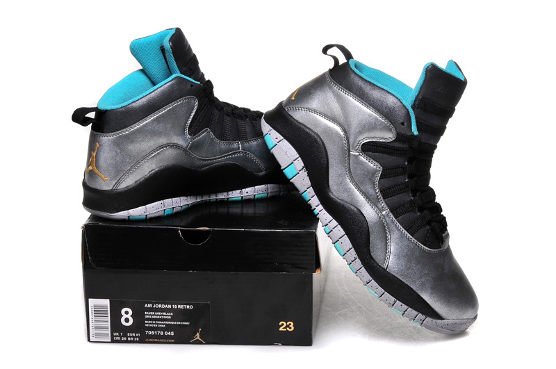 2015 Air Jordan 10 Retro Bulls Over Broadway Silver Black Blue Shoes
