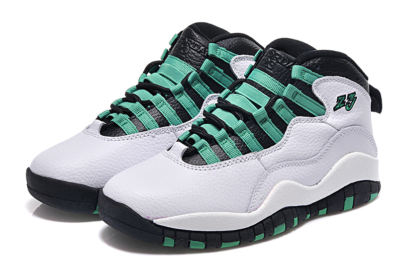 2015 Air Jordan 10 Retro Bulls Over Broadway White Green Black Shoes