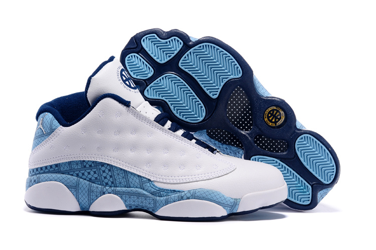 reputable site 9eabb e36d0 2015 Air Jordan 13 Low Retro White Baby Blue Shoes ...