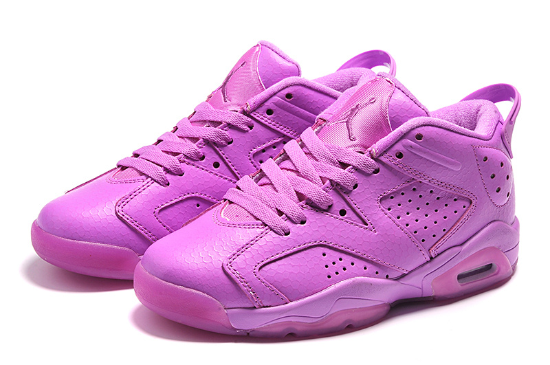 2015 Air Jordan 6 Low All Purple Shoes