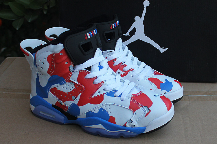 Women 2015 Air Jordan 6 Retro White Red Blue