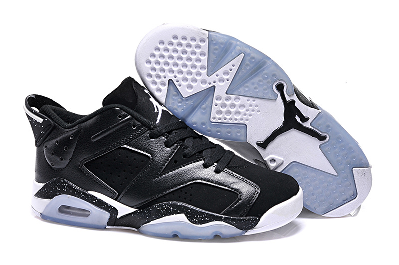 2015 Women Jordan 6 Low Black White Shoes