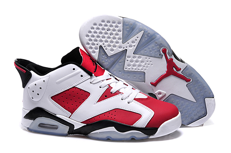 2015 Women Jordan 6 Low Red White Black Shoes