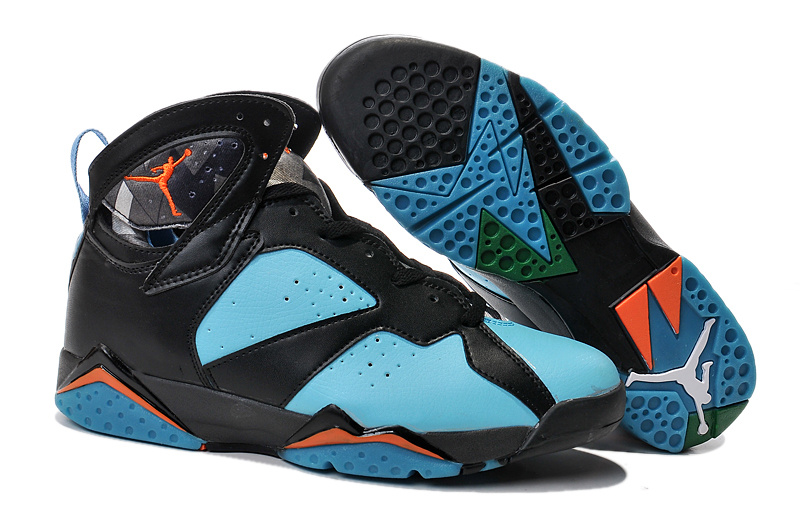 2015 Jordan 7 Retro Black Green Orange Shoes