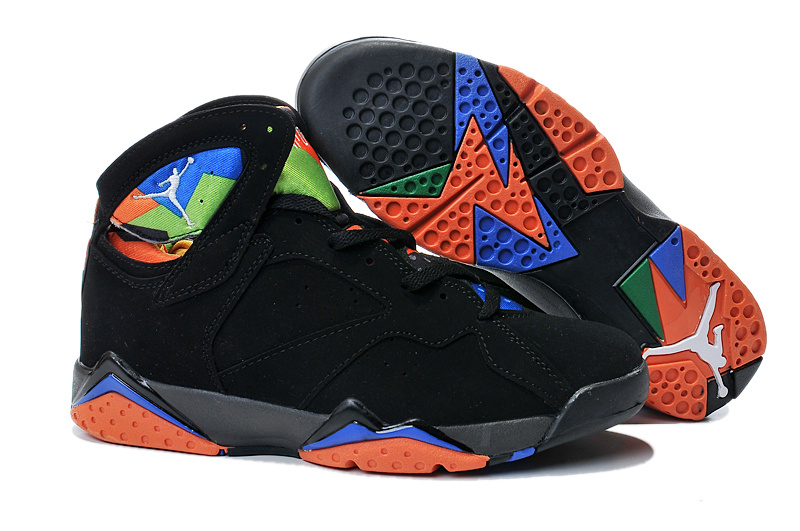 2015 Jordan 7 Retro Black Orange Blue Shoes