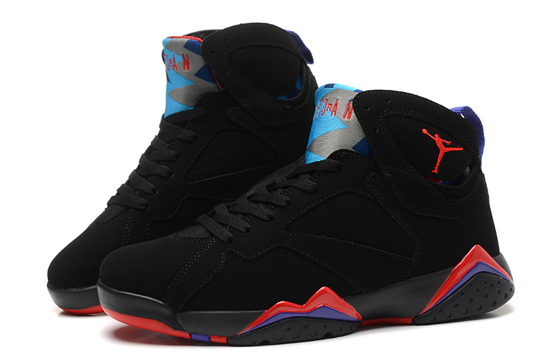 2015 Jordan 7 Retro Black Red Blue Shoes