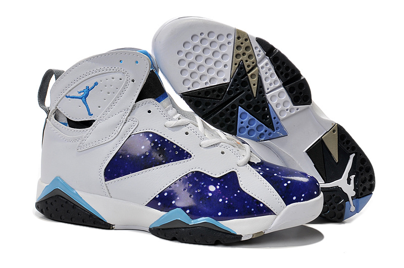 2015 Jordan 7 Retro Purple White Light Blue Shoes