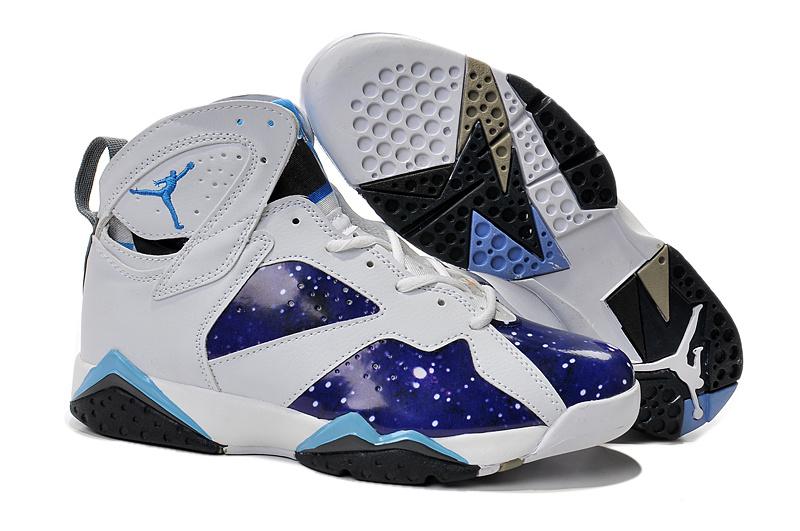 buy online 7a8c6 b410d 2015 Jordan 7 Retro Purple White Light Blue Shoes
