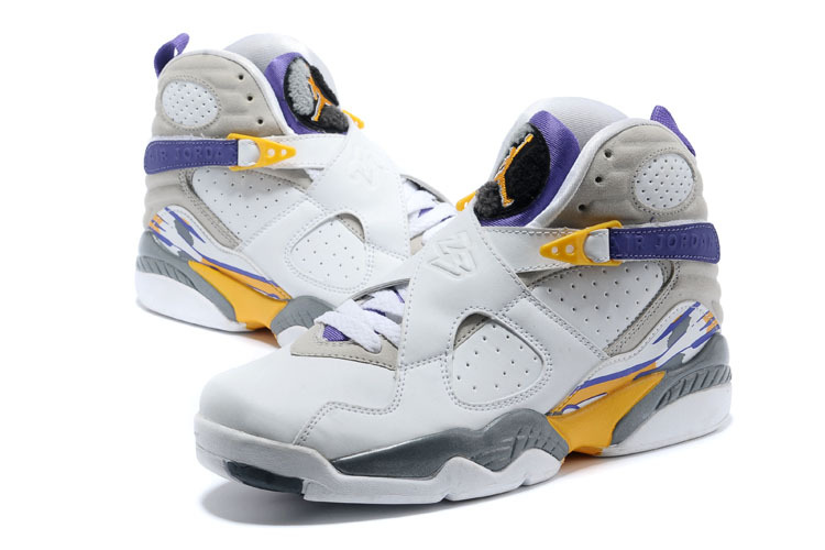 2015 Jordan 8 Retro White Grey Yellow Blue Shoes