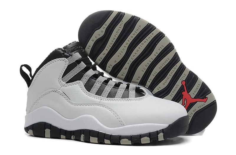 5612a0804a4 2015 Kid Jordan 10 White Grey Black Shoes