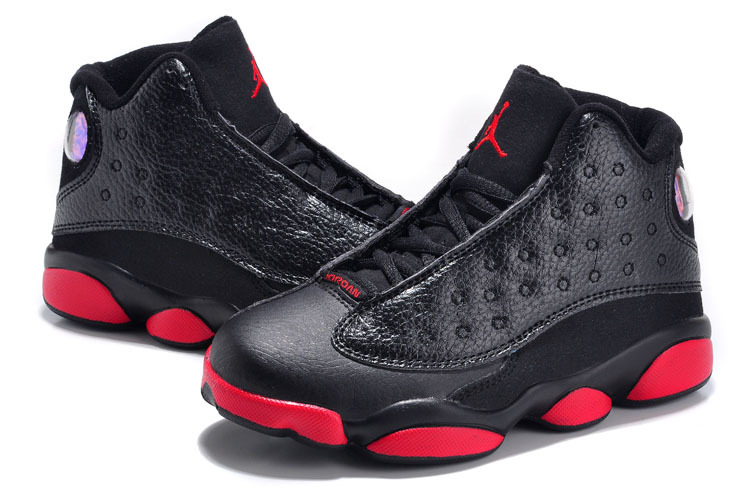 2015 Kids Air Jordan 13 Retro Black Red Shoes