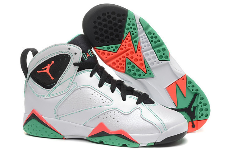 2015 Women Air Jordan 7 White Black Green Pink Shoes