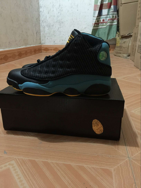 2015 New Air Jordan 13 Retro Black Sky Blue Yellow Shoes