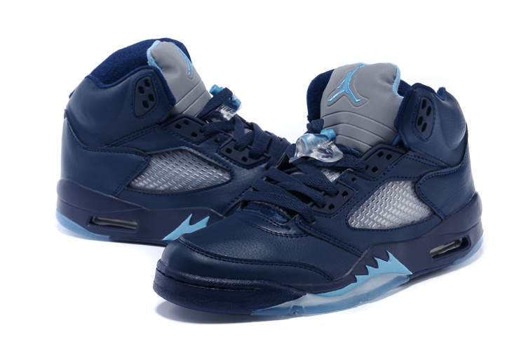 huge selection of c63c2 12421 2015 New Retro Air Jordan 5 Dark Blue Grey Shoes