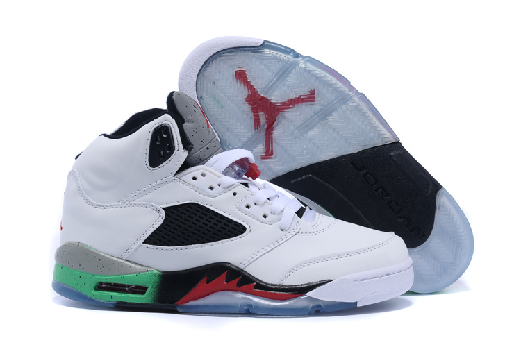 2015 New Retro Air Jordan 5 White Grey Black Red Green Shoes
