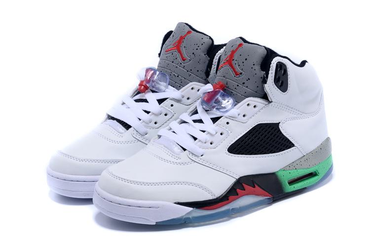 huge discount 61736 f2e4d 2015 New Retro Air Jordan 5 White Grey Black Red Green Shoes