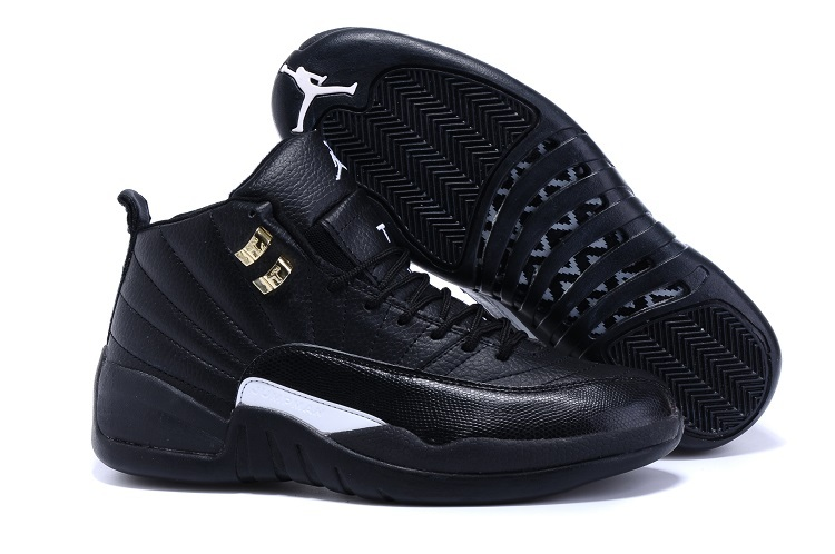 2015 Official Air Jordan 12 Retro All Black Gold Shoes