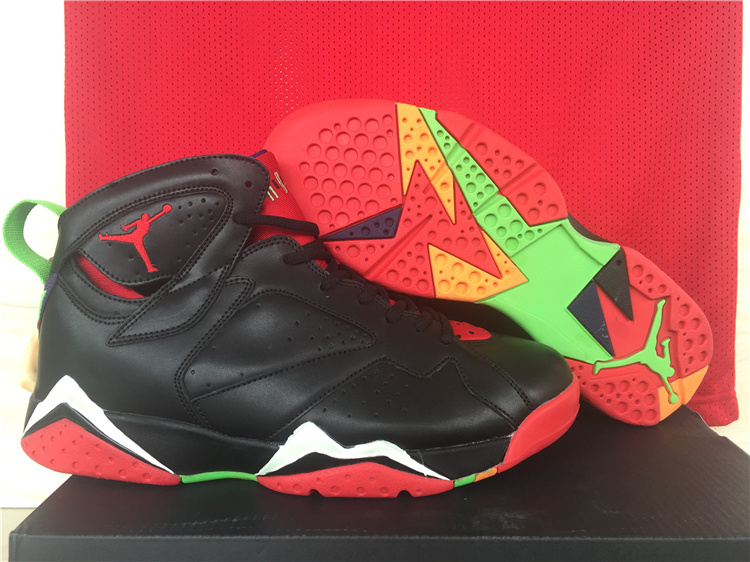 6273b9c070ea98 ... 2015 Official Air Jordan 7 Retro Black Red Green Shoes ...