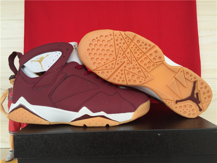2015 Official Air Jordan 7 Retro Wine Red White Shoes
