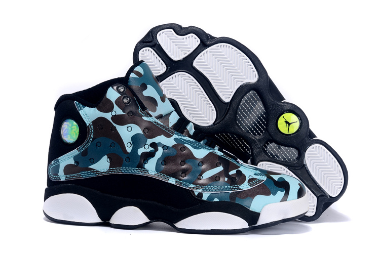 2015 Women Air Jordan 13 Retro Camouflag Blue Black White Shoes