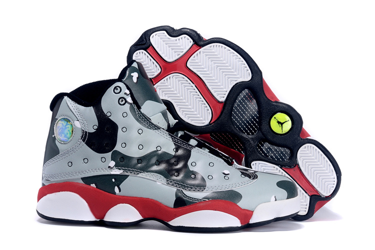 5afe3b50df3 2015 Women Air Jordan 13 Retro Camouflag Grey Black Red White Shoes