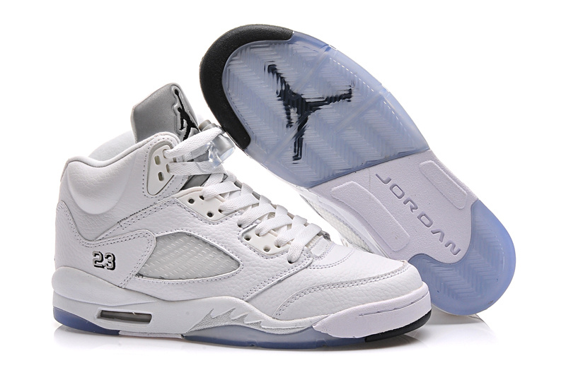 b9c131f79520 2015 Women Air Jordan 5 All White Shoes
