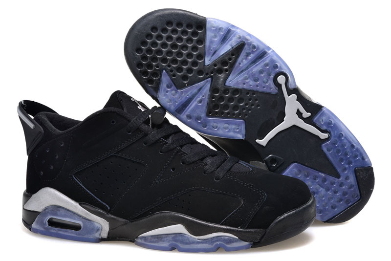 2015 Women Air Jordan 6 Low Black Blue Shoes