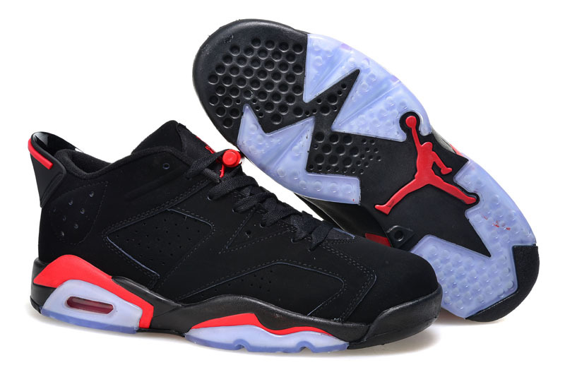 2015 Women Air Jordan 6 Low Black Infared Red Shoes