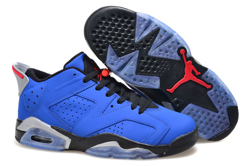 2015 Women Air Jordan 6 Low Blue Black Red Shoes