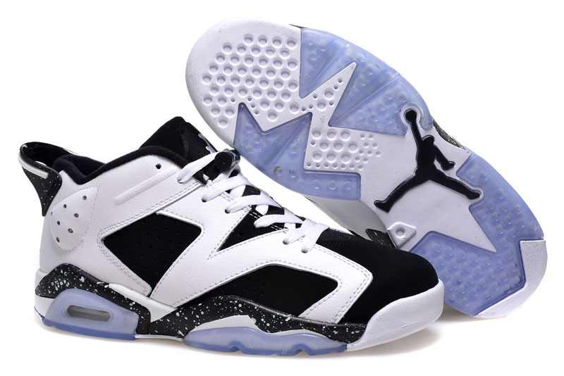 2015 Women Air Jordan 6 Low White Black Shoes
