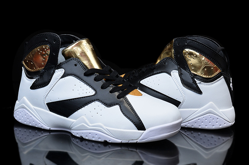 2015 Women Air Jordan 7 Retro White Black Gold Shoes