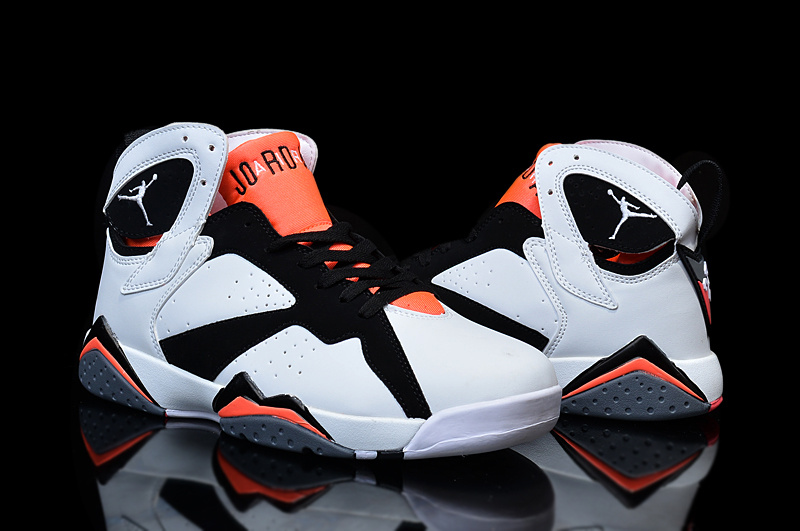 2015 Women Air Jordan 7 Retro White Black Orange Shoes