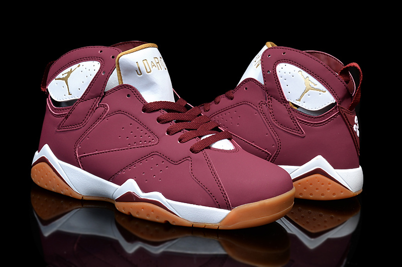 2015 Women Air Jordan 7 Retro Wine Red White Orange Shoes