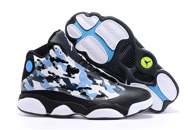 2016 Air Jordan 13 Retro Charity Black White Blue Shoes