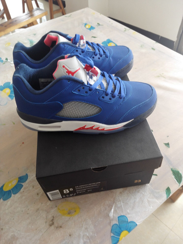 2016 Air Jordan 5 Low Carmelo Blue White Red Shoes