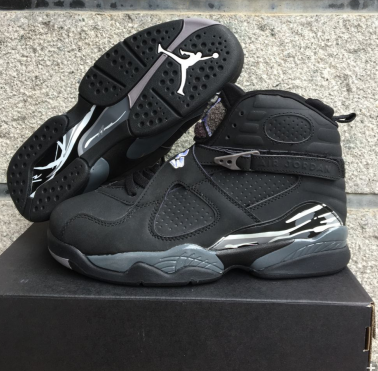 2016 Men Jordan 8 Black Silver Shoes