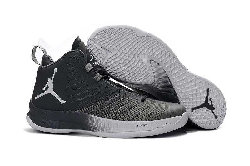 2016 Men Jordan Super Fly 5 Black Grey Basketball Shoes