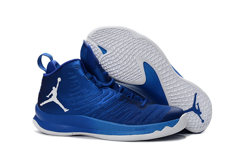 2016 Men Jordan Super Fly 5 Blue White Basketball Shoes