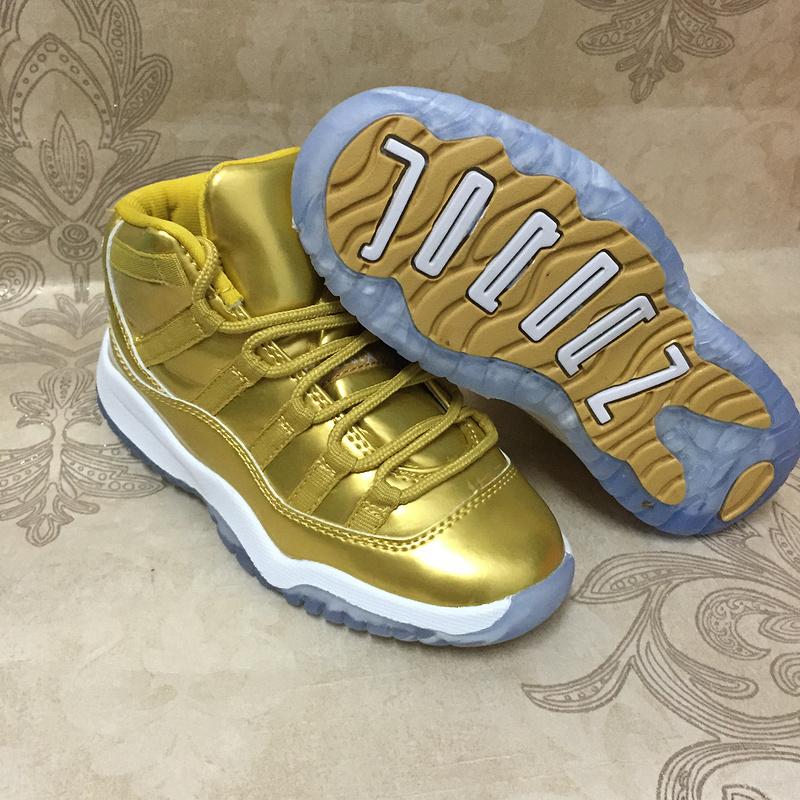 gold jordans for kids