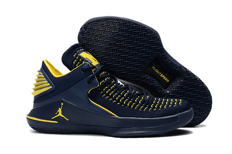 2017 Air Jordan 32 Low Michigan PE Navy Blue Yellow