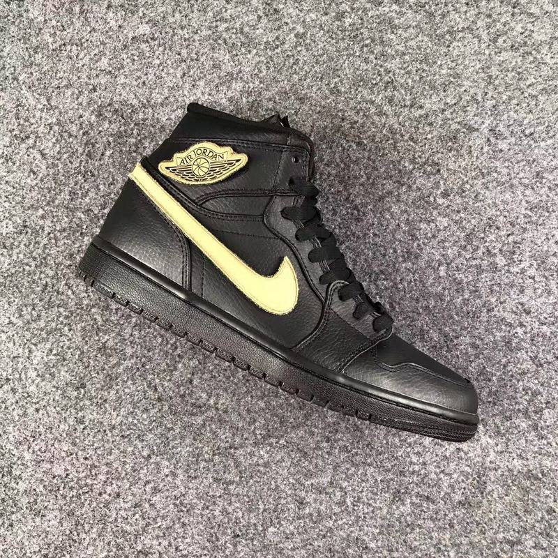 2017 Men Jordan 1 High All Black Gold Shoes