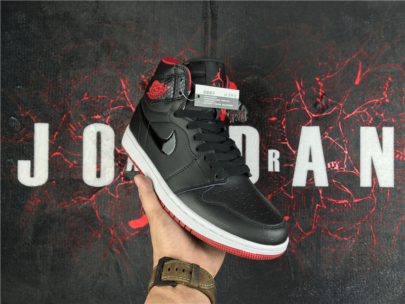 2017 Men Jordan 1 Retro SnakeSkine Black Red White Shoes