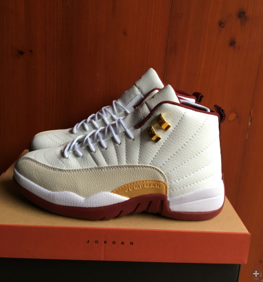 check out aea72 e6ab4 2017 Men Jordan 12 White Wine Red Gold Shoes [WOMEN1297 ...