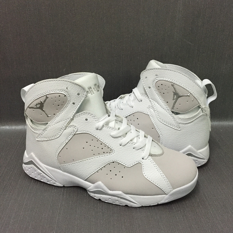 2017 Men Jordan 7 Retro White Grey Shoes
