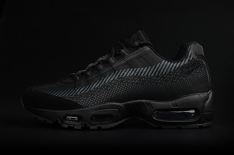 2017 Men Air Max 95 Jacquard All Black Shoes
