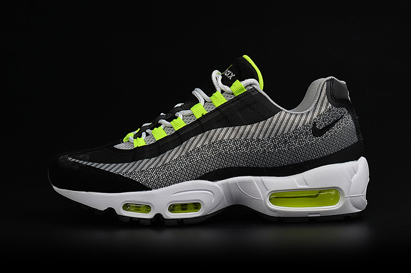 2017 Men Air Max 95 Jacquard Black White Green Shoes