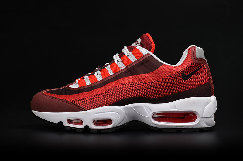 2017 Men Air Max 95 Jacquard Wine Red White Shoes